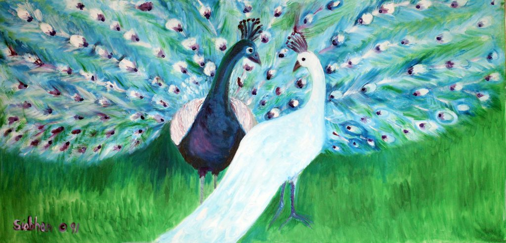PEACOCKS, Oil on Canvas by Jayne St John